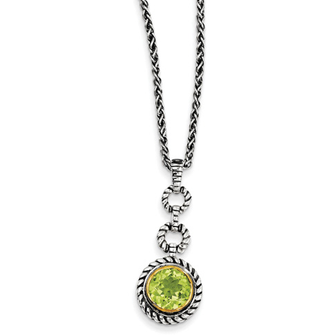 1.91 CT Peridot Necklace 18in - Sterling Silver
