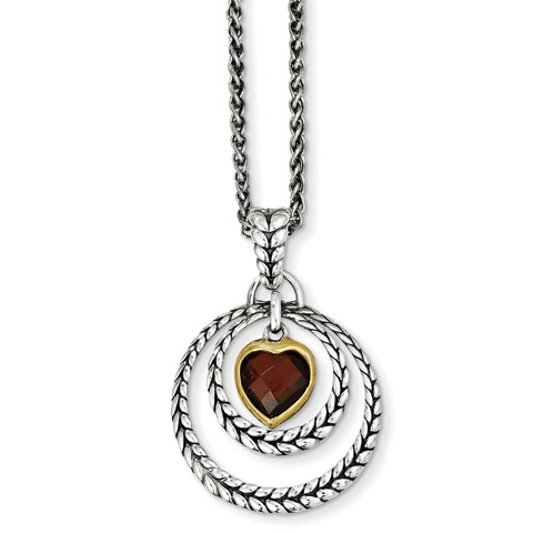 Sterling Silver 2.54 ct Garnet Heart Necklace with 14kt Gold Accent