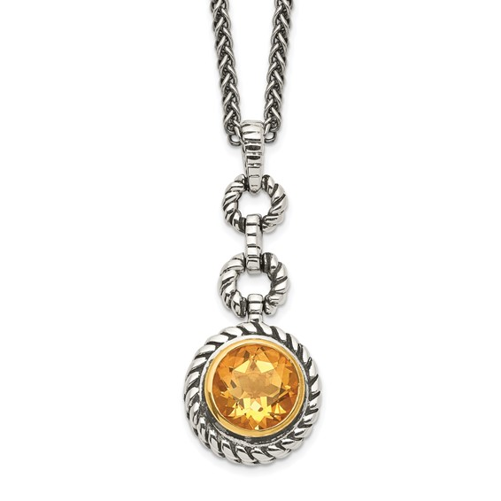 Sterling Silver 2.0 ct Citrine Bezel Necklace 18in