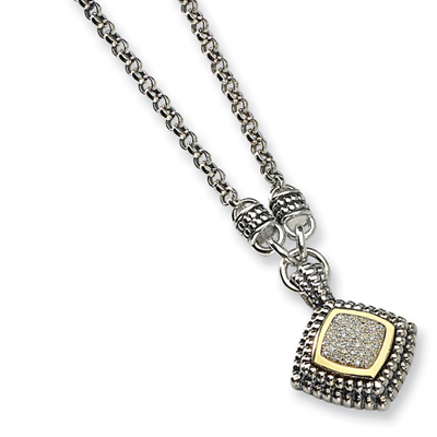 1/5 CT Diamond Necklace 17in - Sterling Silver 14k Accents