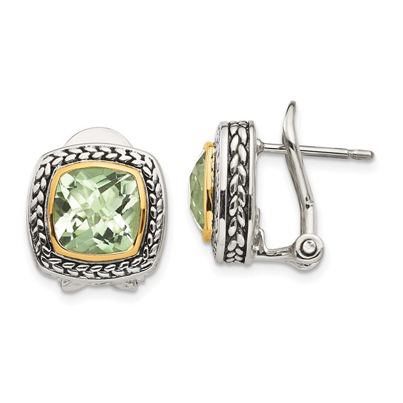 Sterling Silver 4.5 ct Green Amethyst Earrings