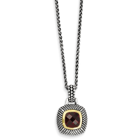 Sterling Silver 2.52 ct Garnet Beaded Necklace with 14kt Gold Accents