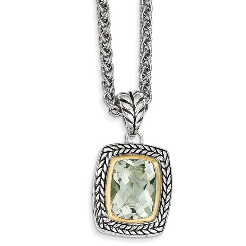 9.73 CT Green Amethyst Necklace 18in