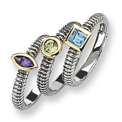 Amethyst, Blue Topaz & Peridot Ring Set Size 8