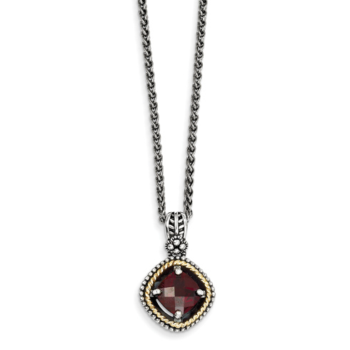 Sterling Silver 2.4 ct Garnet Necklace with 14kt Gold Accent