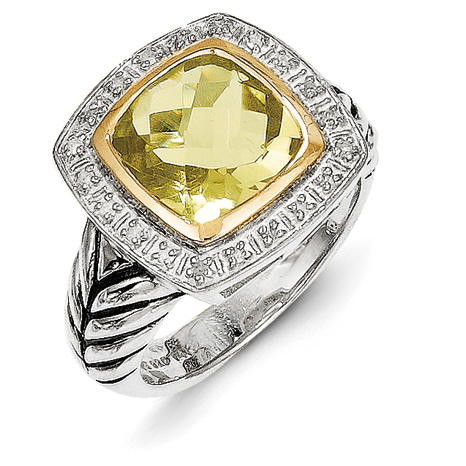 5.03 CT Lemon Quartz & Diamond Ring