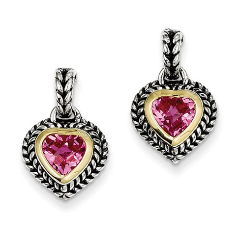Sterling Silver 2.16 CT Created Pink Sapphire Earrings