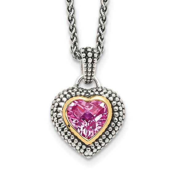 Sterling Silver 2.89 CT Created Pink Sapphire Necklace