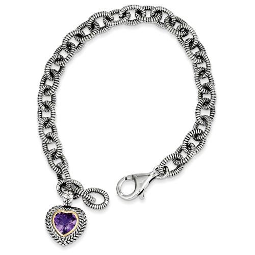 Sterling Silver 14kt Gold 7 1/2in Amethyst Heart Charm Textured Bracelet