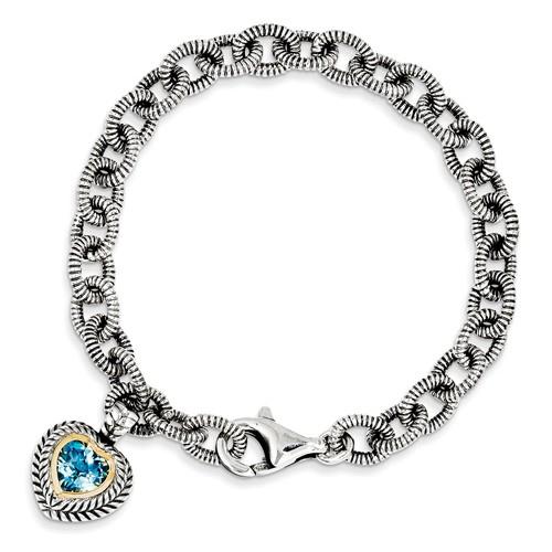 Sterling Silver 14kt Gold 7 1/2in Swiss Blue Topaz Heart Charm Textured Bracelet