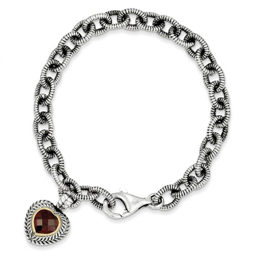 Sterling Silver 14kt Gold 7 1/2in Garnet Heart Charm Textured Bracelet