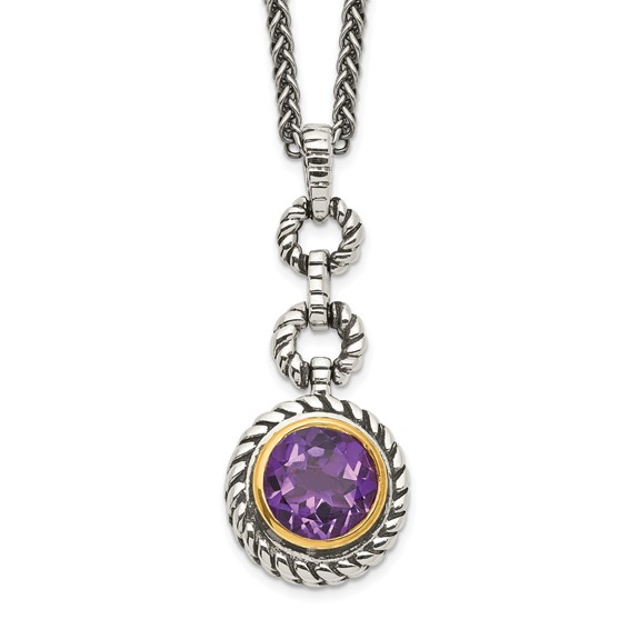 Sterling Silver 1.6 ct Amethyst 18in Antiqued Necklace