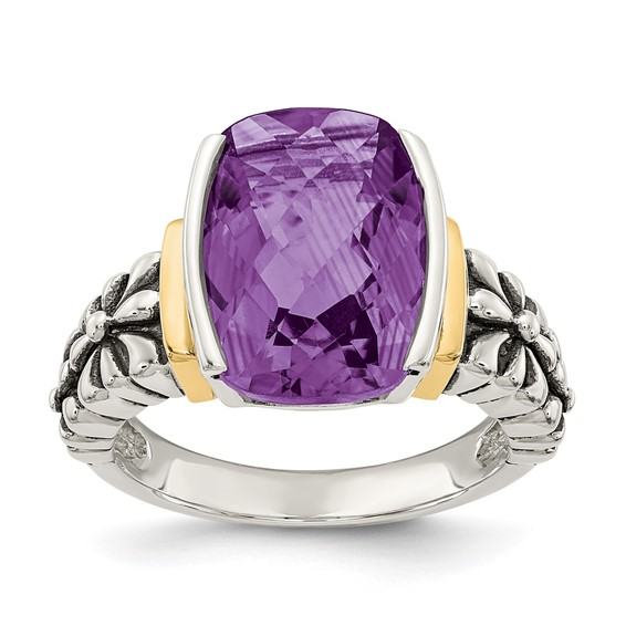6.6 CT Amethyst Ring Size 6 - Sterling Silver 14k Accents
