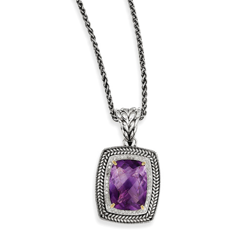 Sterling Silver 10.81 ct Amethyst & Diamond 20in Necklace