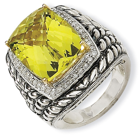 Sterling Silver 15 ct Lemon Quartz & Diamond Ring