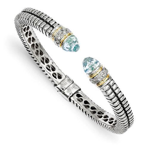 5.0 CT Blue Topaz & Diamond Bangle