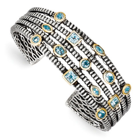 4.8 CT Blue Topaz Bangle- Sterling Silver 14k Accents