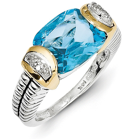 6.35 CT Blue Topaz & Diamond Ring Size 7 - Sterling Silver