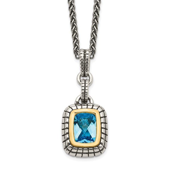 1.74 CT Blue Topaz Necklace - Sterling Silver