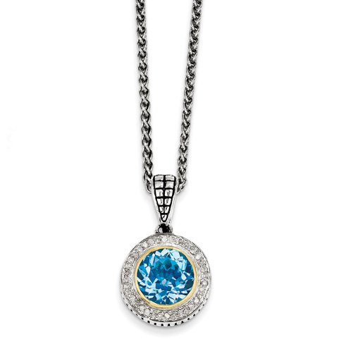 4.72 CT Blue Topaz & Diamond Necklace - Sterling Silver