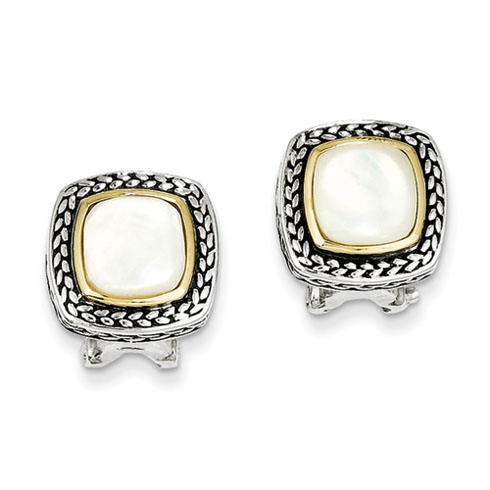 Sterling Silver Mother of Pearl Omega Back Earrings 14kt Gold Accents