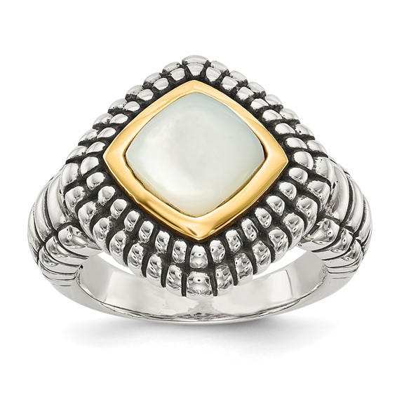 Sterling Silver and 14kt Gold Mother of Pearl Ring