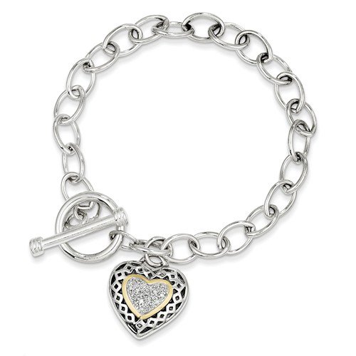 Sterling Silver 14kt Gold 7 1/4in Diamond Heart Charm Link Bracelet