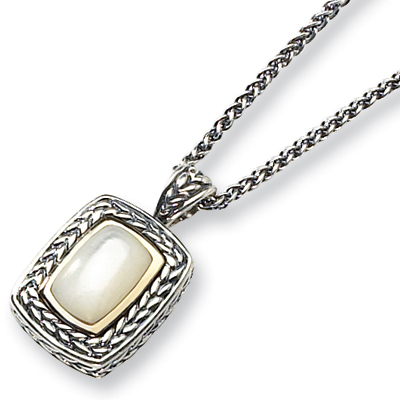 Mother of Pearl Necklace 18in - Sterling Silver 14k Accents
