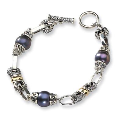 Black Pearl 7.5in Bracelet - Sterling Silver