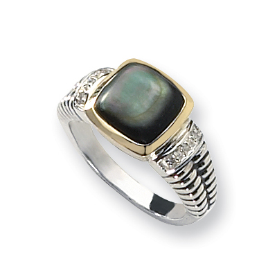 Sterling Silver 14kt Gold Black Mother of Pearl & Diamond Ring
