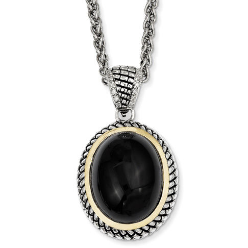 25x20mm Onyx and Diamond 20in Necklace