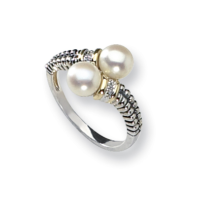 Sterling Silver 14kt Gold 6mm Freshwater Pearl & Diamond Ring