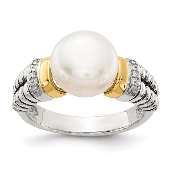 Sterling Silver with 14k Diamond & 10mm Freshwater Pearl Ring