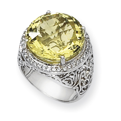 18.18 CT Lemon Quartz Ring with Diamonds