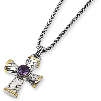 Sterling Silver 3.06 ct Amethyst Cross 18in Necklace