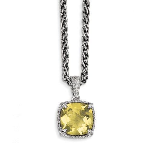 10 CT Lemon Quartz and Diamond 18in Necklace