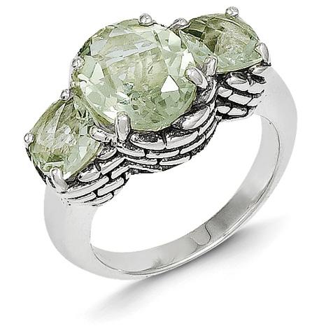 5.5 ct Green Amethyst Ring