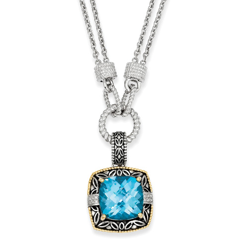 17.5 CT Blue Topaz & Diamond 17in Necklace