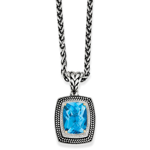 13.5 CT Blue Topaz 18in Necklace