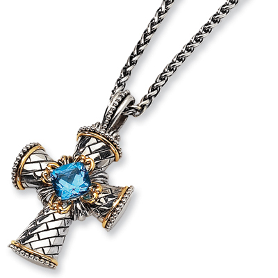 5.45 CT Blue Topaz Cross 18in Necklace