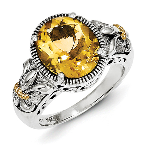 Sterling Silver 14kt Gold 3.63 ct Citrine Ring