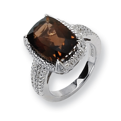 6.20 CT Smoky Quartz and Diamond Ring Size 6