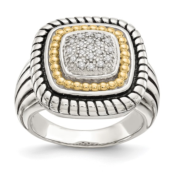 Sterling Silver with 14k Gold Diamond Ring