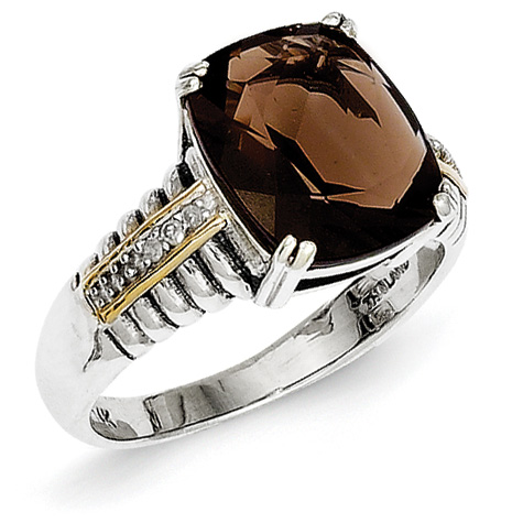 2.11 CT Smoky Quartz Ring with Diamonds Size 6