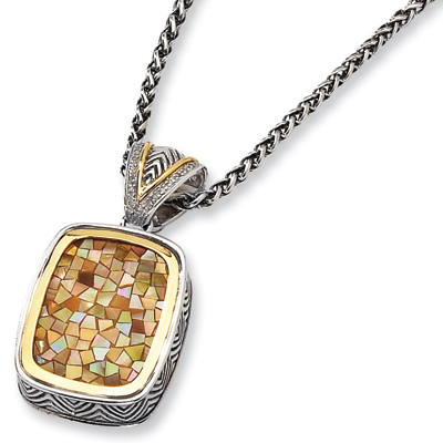 Mother of Pearl & Diamond 18in Necklace