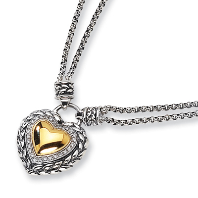 1/8 CT Diamond Heart Necklace - Sterling Silver 14k Accents