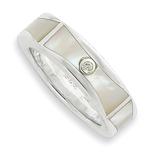 Sterling Silver .01ct Diamond and Mother of Pearl Ring