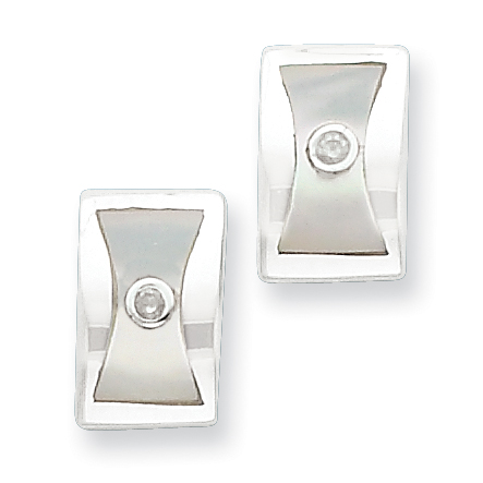 Sterling Silver .02ct Diamond and MOP Earrings