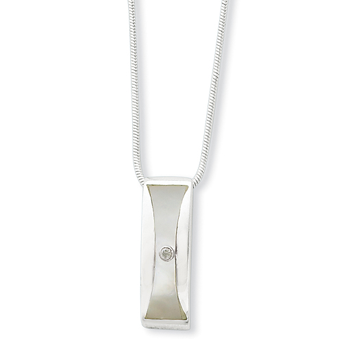 18in Sterling Silver .02ct Diamond and MOP Necklace