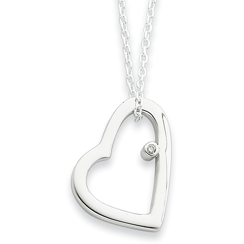 18in Sterling Silver .01ct Diamond Heart Necklace